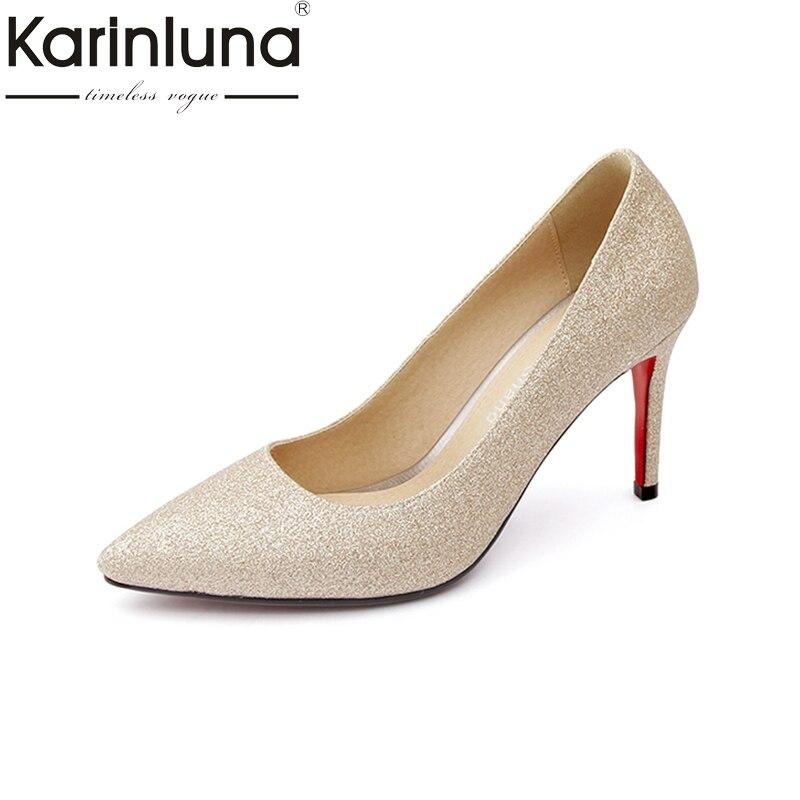 Karinluna 2018 Plus Size 30-47 Pointed Toe Women Pumps Woman Slip On Thin High Heels Women Shoes Woman Wrapped Pumps<br>