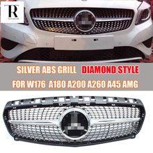 Silver ABS Diamond Front Grill Grille for Mercedes Benz W176 A-CLASS A180 A200 A260 A45 AMG 2013 2014 2015 Auto Racing Car Grill