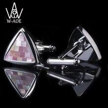 WAOE Brand Fashion Luxury Triangle Shell Cufflinks For Mens Shirt Cuff Links Trendy Wedding Gemelos Cuff Buttons Men Jewelry