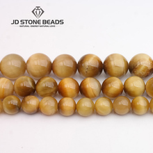 JD Stone Beads Free Shipping Golden Tiger Eye Beads Fashion Hand-made Jewelry Ornament(China)