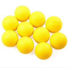 10PCS Plastic Golf Ball Outdoor Sports Yellow Soft Elastic Golf Balls Golf Practice Training Balls Training Aid High Quality(China)