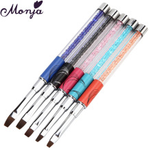 5Pcs/set Nail Pen Brushes with Cap Rhinestone Handle Acrylic UV Gel Polish Tips Carving Painting Drawing 3D DIY Manicure Design