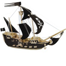 DIY Kids 3D Wooden Puzzles Pirate ships sailboats aircraft carriers Model Assembling Kits IQ Educational Toys for Children