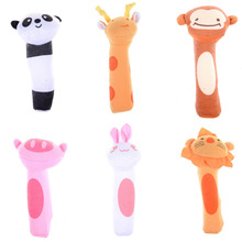 Baby Rattles & Mobiles Toy BIBI Bar Animal Squeaker Toys Infant Hand Puppet Enlightenment Plush Doll Drop(China)