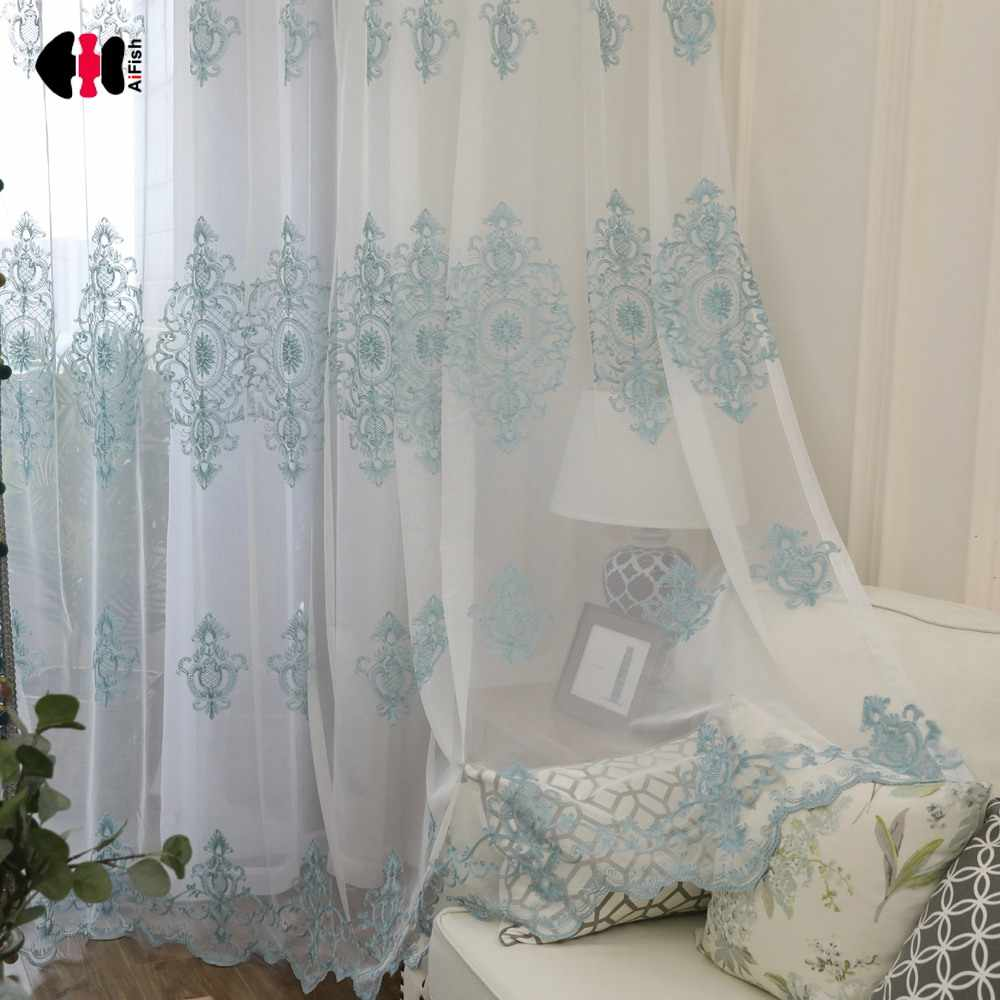 Blue Floral Mesh Fabric Embroidered Curtain Nets for Living Room Simple Rustic Window Treatment Gauze wp079C