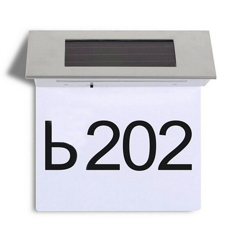 new arrival high quality stainless steel solar 4led house number illuminated door wall plaque light lamp