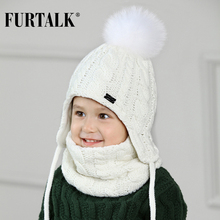 FURTALK Children Winter Hat Scarf Set for Girls Boys Kids Knitted Hat Real Fox Fur Pom Pom Ears Hats Baby Hat(China)