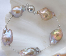 "free shipping $wholesale_jewelry_wig$ free shipping 8"" 17mm lavender BAROQUE KESHI REBORN PEARL gild 5star bracelet"