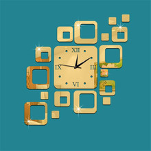 Hot!Square Mirror Gold Wall Clock Modern Design Home Decor Watch Wall Sticker 2017 New Best Price Drop Shipping Jun23(China)