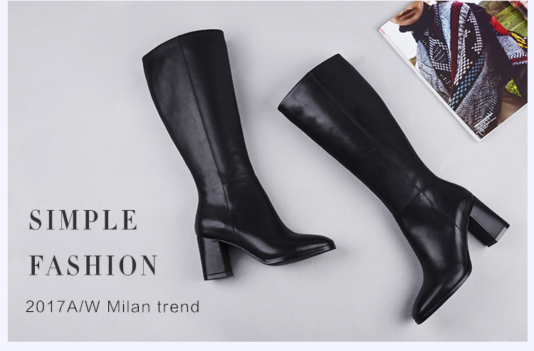 Donna-in elegant square toe high boots genuine leather women boots thick high heel ladies boots inside zipper knee-high boots 15325-7 (2)