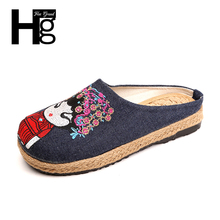 HEE GRAND Plus Size 36-40 Chinese Style Traditional Women's Loafers Unique Manual Flower Doll Face Flat Shoes for Woman XWX6011(China)