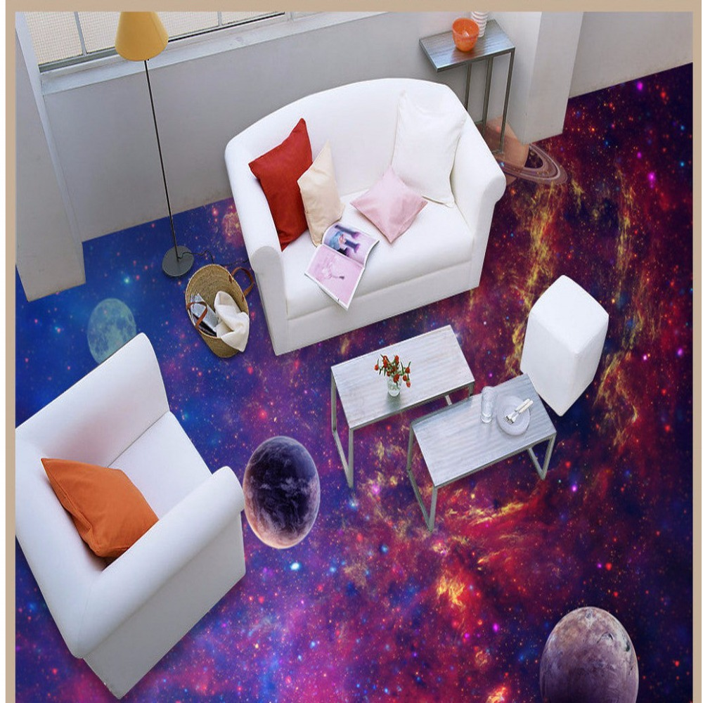 Free Shipping Cosmic Galaxy Star 3D Floor Painting decorating office hotel living room custom flooring wallpaper mural<br><br>Aliexpress