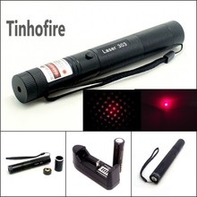 Tinhofire Top Laser 303 200mW Red Laser Pointer Adjustable Focal Length and Star Pattern Filter+4000mah 18650 battery+charger