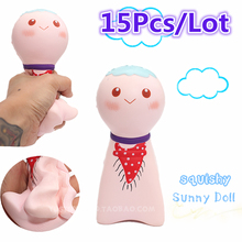 15Pcs/Lot 15cm Kawaii Jumbo Squishy Kiibru Japan Sunny Doll Phone Straps Charm Bread Scented Slow Rising Kid Toy Gift Wholesales