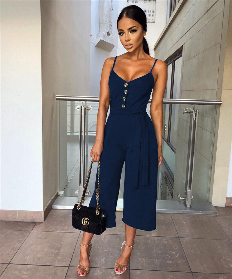 101046 2019 Summer Women Solid Skinny Sexy Jumpsuit Casual Bandage Streewear Spaghetti Strap V-neck Playsuit Overalls for Women Party 1
