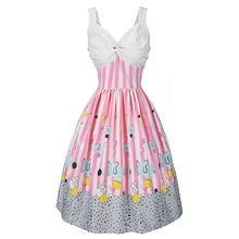 New brand Halter Sexy Women Vintage Party Dress Sleeveless Backless Strapless Dot Elegant Ladies Cute cartoon pattern dress(China)