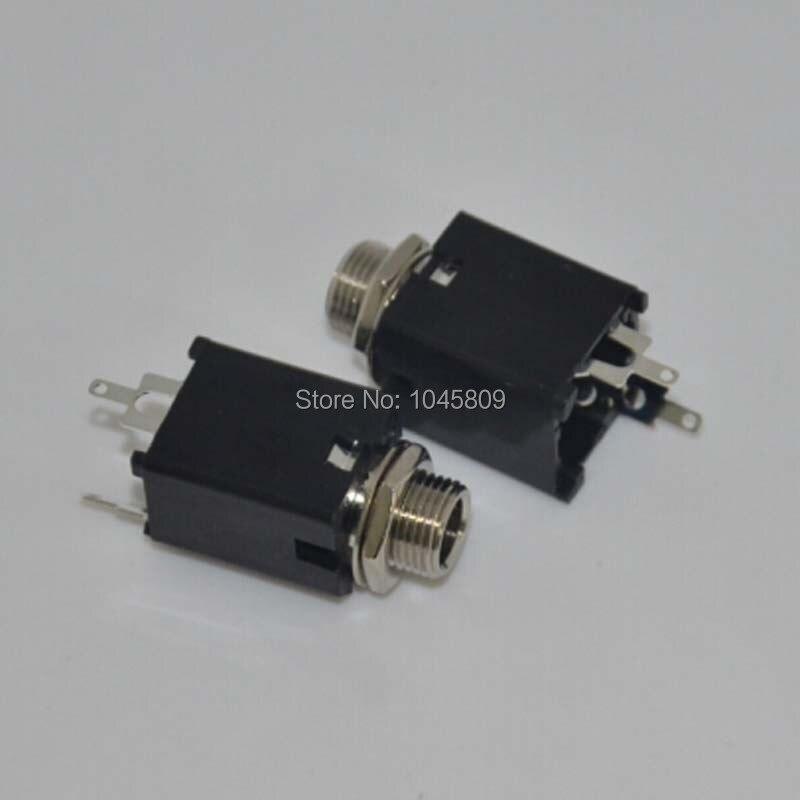 50PCS/Lot 1/4 6.35mm black Mono Jack Socket Audio Jack for guitar pedal/amp/ diy ,Solder Lug Free Shipping<br>