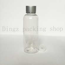 200ml transparent empty cosmetic package PET containers bottles screw silver lid 6.7 oz plastic bottles 20pc/lot(China)