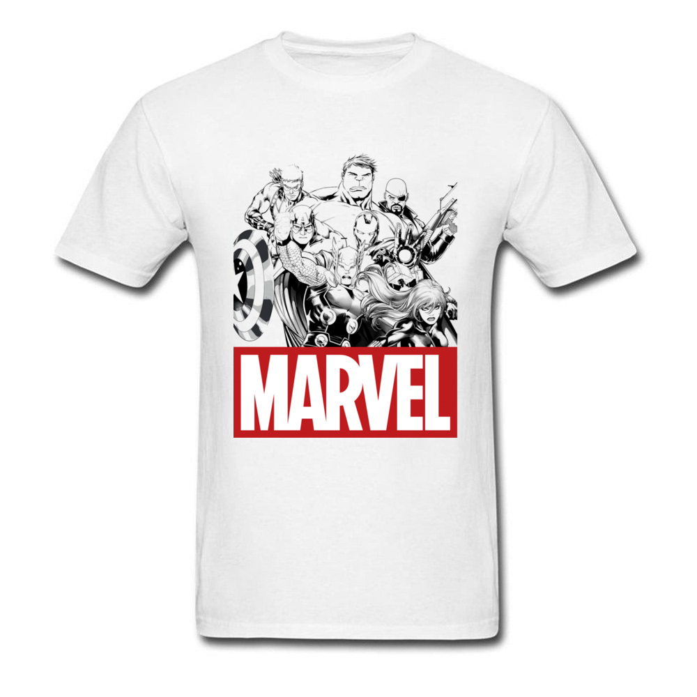 Newest Male Top T-shirts Crew Neck Short Sleeve 100% Cotton Star Wars Marvel Heroes Logo Tops & Tees Print Tops & Tees Marvel Heroes Logo white