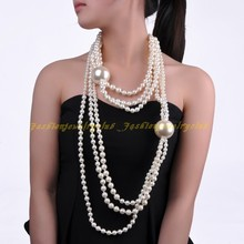Spring Fashion Design 6 Multilayers Strand Chain White Faux Pearl Statement Bib 58cm Long 2 Big Pearls Pendant Necklace(China)