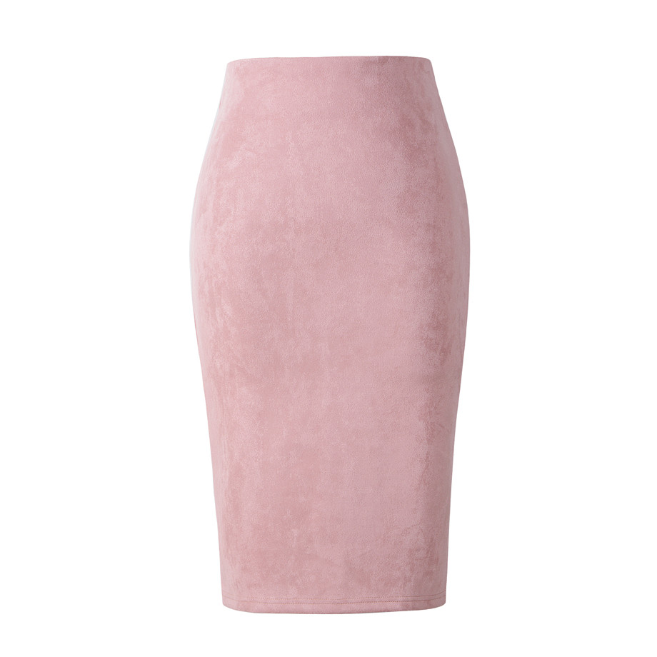 Neophil 2018 Summer Gray Pink Women Suede Midi Pencil Skirts Causal High Waist Sexy Stretch Ladies Office Work Wear Saia S1009 12