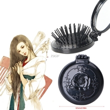 Vintage Style Portable Hair Brush Folding Airbag Massage Comb Compact hand With Mirror Styling Tools Hair Comb MAY25_20(China)