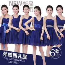 2017 new arrival royal blue short fashion design bridesmaid dresses six style for choose one shoulder chiffon in stock