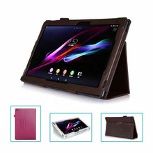 "9 colors For Sony Xperia Z 10.1"" Tablet PC Soft Protective PU Leather Stand Folio Pouch Case Cover Holder Retail or Wholesale"