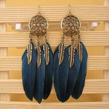 Women's Bohemia Style Vintage Feather Leaves Drop Dangling Earrings Jewelry Gift