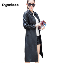 Ryseleco Long PU Leather Jacket New Ladies Elegant Plus size Black Long Turn Down Collar Coats Trench Female Outerwear Tops XXXL(China)