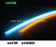 2pcs 45cm White+Amber green blue red Flexible Headlight  Head lamp Switch back Strip Tube DRL Decorative Light