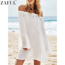 ZAFUL 2017 New Summer Women Sexy Off The Shoulder See-Through Long Sleeve Swimsuit Beach Cover Up Swimwear Beach Dress Beachwear