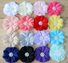"2.8"" chiffon flower beaded chiffon flower 16 colors for girls headbands hair accesssories"