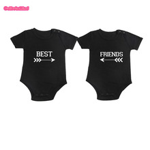 Culbutomind New Style Kids Baby Boy Twins Set Cute Fashion Black Summer Newborn Clothes 2pcs/lot Twins Baby Clothes Best Friends(China)