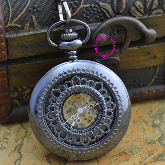 wholesale  price good quality new black retro vintage classic flower figure mechanical pocket watch with chain hour<br><br>Aliexpress