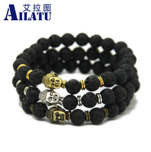 Ailatu Wholesale 10pcs/lot Hot Sale Jewelry Black Lava Energy Stone Beads Buddha Bracelets for Men's Gift