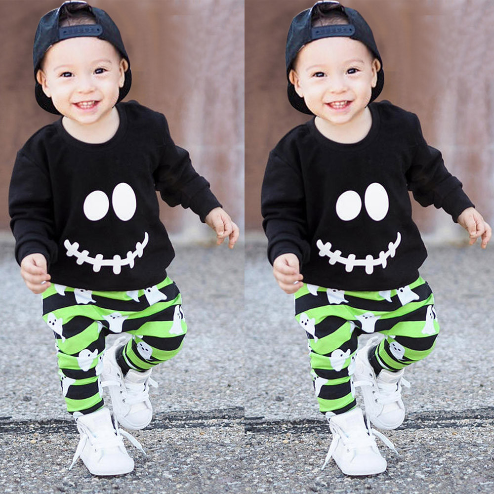 Newborn Infant Baby Girl Ghost Dot Dress+Romper+Pant Halloween Cotton Outfit Set