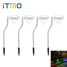 4PCS Diamond Solar Light Outdoor Lighting RGB Patio Garden Decoration Lamp Stainless Steel LED Bulbs Landscape Solar Lawn Light(China)