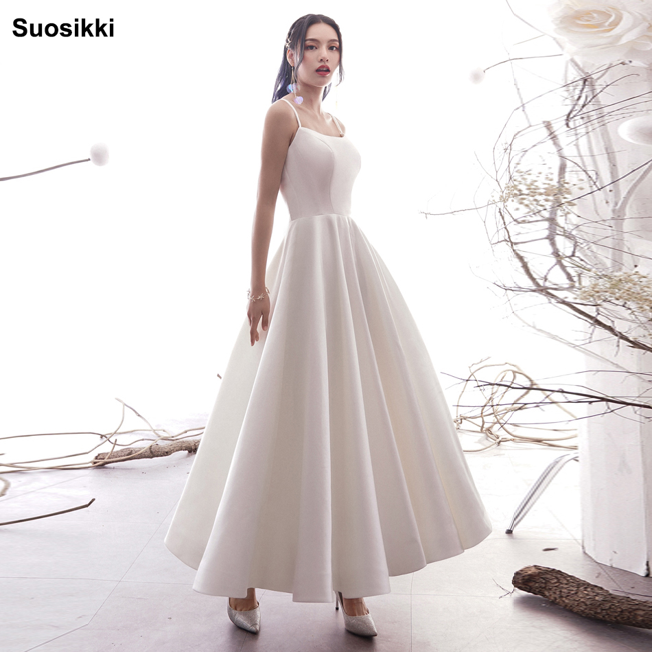 Simple A Line Wedding Dresses Satin Off The Shoulder Wedding Bridal Gowns