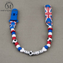 Buy MIYOCAR Personalised -Any name Hand made lovely football beads dummy clip dummy holder pacifier clips soother chain baby for $5.70 in AliExpress store