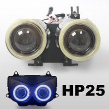 KT Motorcycle HID Projector Lens Kit Suitable for Kawasaki Z1000 2003 2004 2005 2006 White Angel Halos Eyes  Headlight