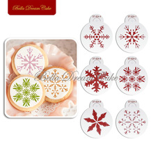 6pcs/lots Christmas Different Snow Flake Design Cookies Stencil Candy Template Coffee Decor Stencil Cake Decorating Tools ST-924