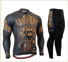 Mens Cycling Jerseys Bike Bicycle Kits Mountain Bike Long Sleeve Cycling Clothing Breathable Golden Skull Team Wear