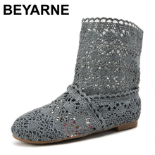 BEYARNE New  Spring and Summer Women High-leg Boots Knitting Hollow ankle Boots women's shoes knitted shoes for women