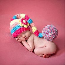 Baby Hats Winter Girl Boy Rainbow Crochet Beanies Big Hairball Flower Caps Newborn Photography Props Infant Costumes Knitted Cap()