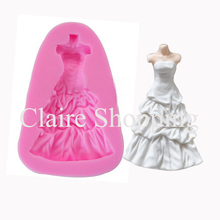 Yueyue Sugarcraft Dress design silicone cake mold fondant mold cake decorating tools chocolate gumpaste mold size 4.3*6.6cm(China)