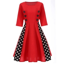 Women Vintage Double Breasted Red Evening Party Dress Dot Pattern Pleated(China)