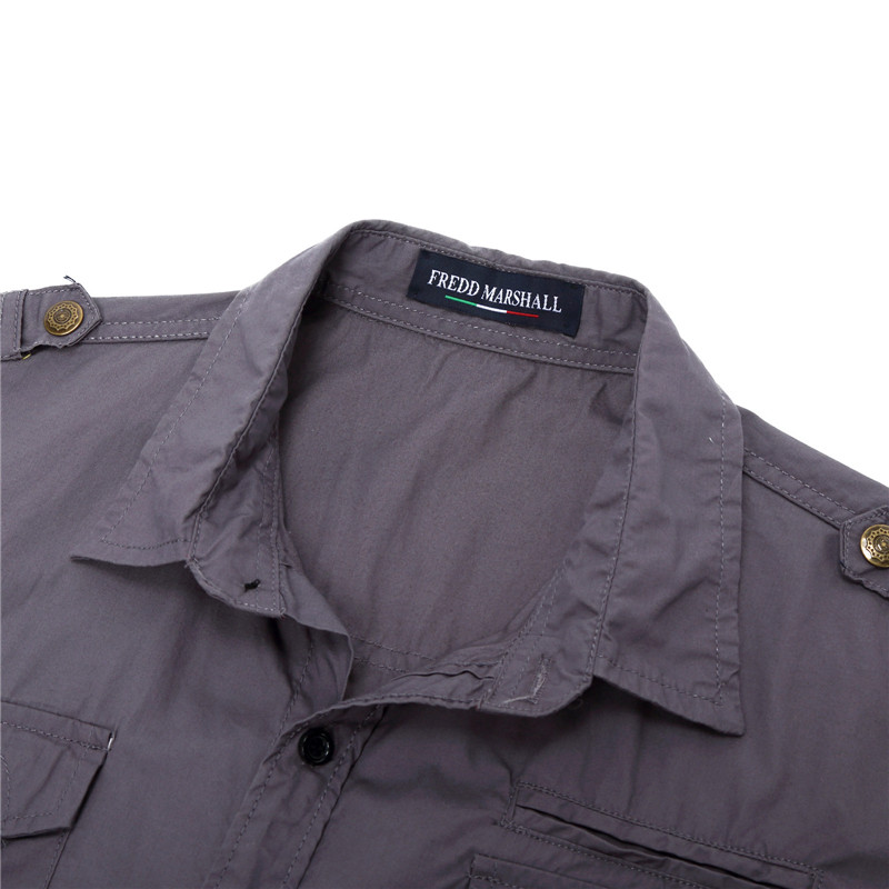 2018 New Men Cargo Shirt Casual 100% Cotton Man Solid Color Short Sleeve Shirts Work Shirt US Size S-XXXL (8)