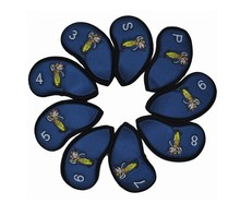 9Pcs Golf Club Iron Putter Head Cover Set Nylon Protection Case - Blue