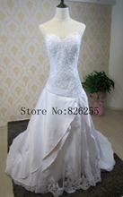 New Model Custom Made High Quality Satin Appliques Classic Style Elegant Wedding Dress/Bridal Gowns ZH0374 Free Shipping(China)